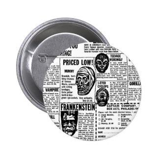 Halloween Retro Vintage Kitsch Monster Masks Ad Pinback Button