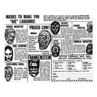 Halloween Retro Vintage Kitsch Monster Masks Ad Post Cards