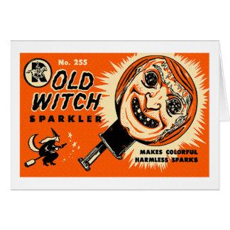Halloween Retro Vintage Kitsch Old witch Sparkler Card