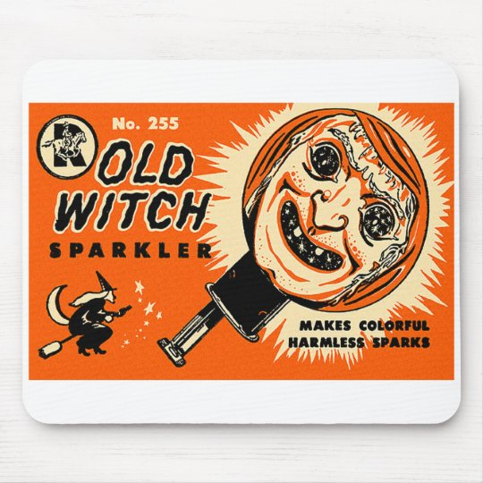 Halloween Retro Vintage Kitsch Old witch Sparkler Mouse Pad