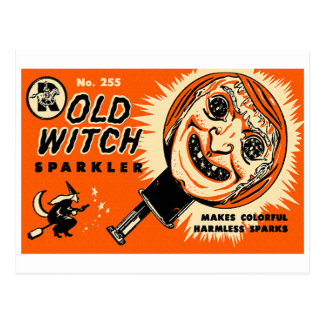 Halloween Retro Vintage Kitsch Old witch Sparkler Postcard