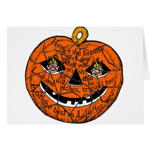 Halloween Retro Vintage Kitsch Pumpkin Gnomes Card