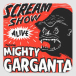 Halloween Retro Vintage Kitsch Scream Show Ape Square Stickers