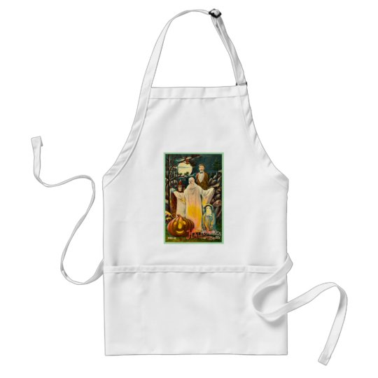 Halloween Retro Vintage Kitsch Spooky Card Adult Apron