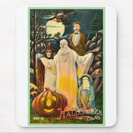 Halloween Retro Vintage Kitsch Spooky Card Mouse Pad