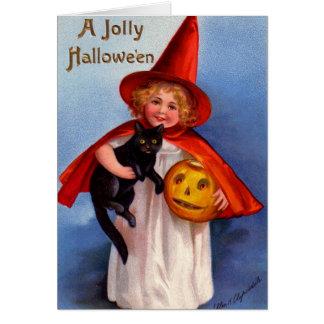 Halloween Retro Vintage Little Witch & Black Cat Card