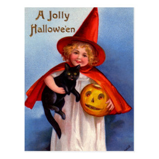 Halloween Retro Vintage Little Witch & Black Cat Postcard