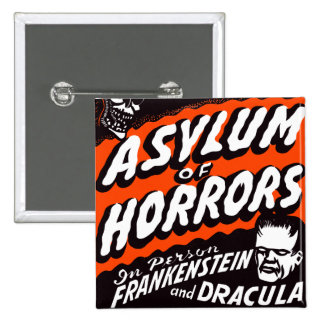 Halloween Retro Vintage Monsters Asylum of Horrors Pinback Buttons