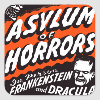 Halloween Retro Vintage Monsters Asylum of Horrors Square Sticker
