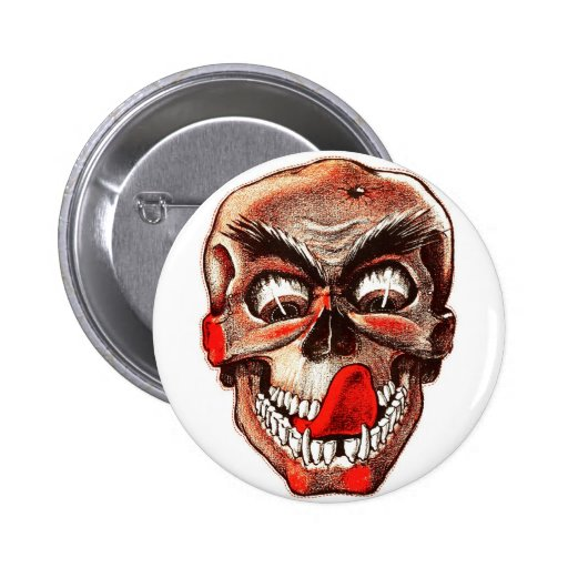 Halloween Retro Vintage Monsters Hungry Skull 2 Inch Round Button