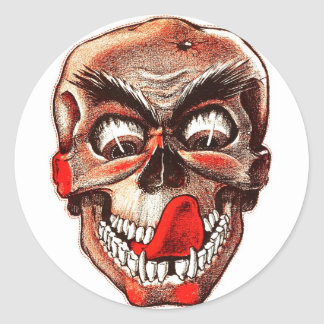 Halloween Retro Vintage Monsters Hungry Skull Classic Round Sticker