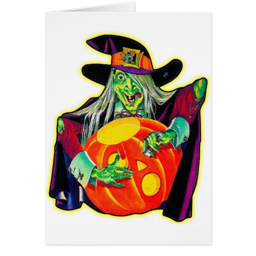 Halloween Retro Vintage Pumpkin Carving Witch Greeting Card