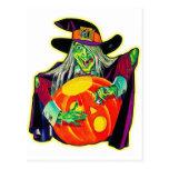 Halloween Retro Vintage Pumpkin Carving Witch Postcard