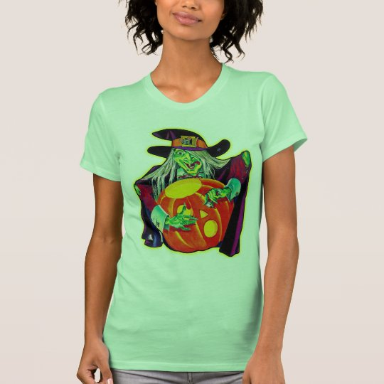 Halloween Retro Vintage Pumpkin Carving Witch T-Shirt