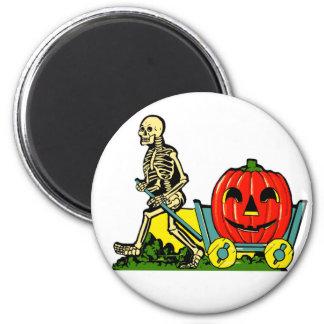 Halloween Retro Vintage Skeleton & Pumpkin Cart 2 Inch Round Magnet