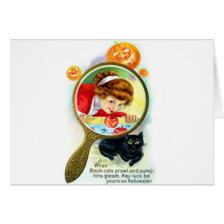 Halloween Retro Vintage Victorian Apple Bobbing Card
