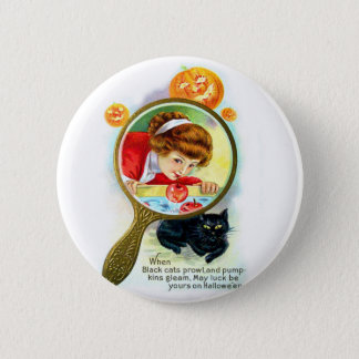 Halloween Retro Vintage Victorian Apple Bobbing Pinback Button