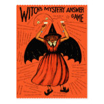 Halloween Retro Vintage Witches Mystery Game Postcard