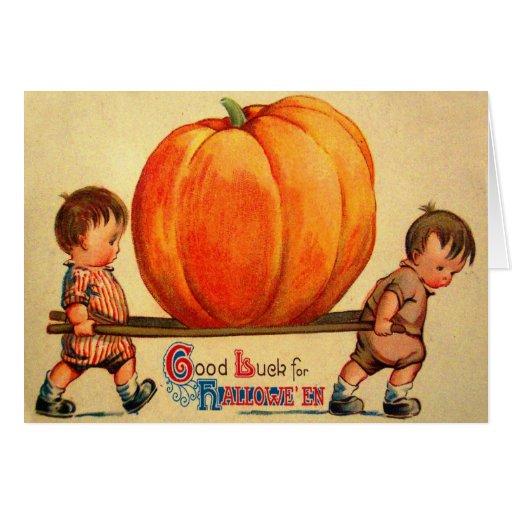 Halloween Retro Vintage World's Biggest Pumpkin Card