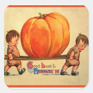 Halloween Retro Vintage World's Biggest Pumpkin Square Sticker