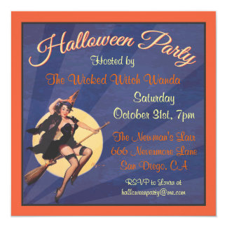 Halloween Retro Witch Pin Up Party Invitation