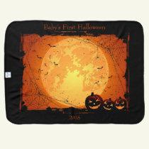 Halloween Reversible Custom Date or Name Warm Baby Blanket