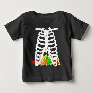 Halloween Ribcage And Pile Of Candy Baby T-Shirt