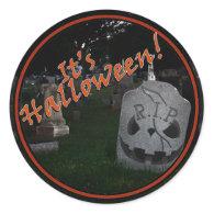 Halloween RIP Cemetery Grave Marker Round Sticker