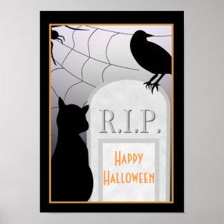 Halloween RIP Tombstone Cat Poster
