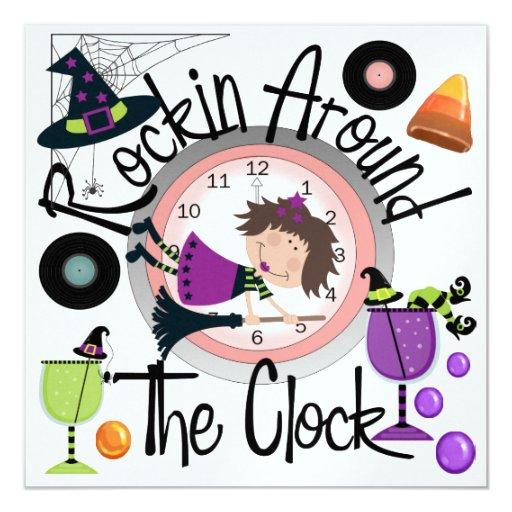 """Halloween Rockin las veinticuatro horas del día va Invitación 5.25"""" X 5.25"""""""