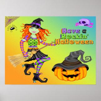 Halloween Rockin Witch Poster/Print