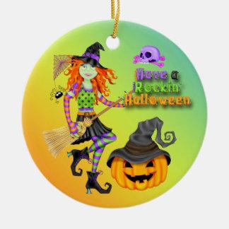 Halloween Rockin Witch Round Ornament