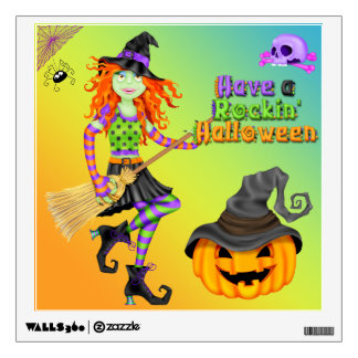 Halloween Rockin Witch Square Wall Decal