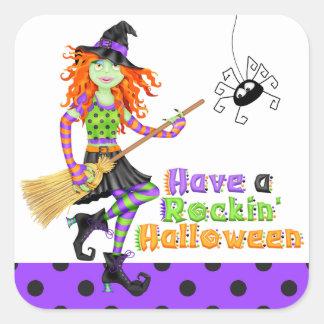 Halloween Rockin' Witch with Broom Square Sticker