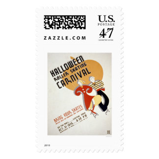 Halloween Roller Skating 1936 WPA Postage