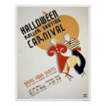 Halloween Roller Skating 1936 WPA Print