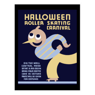 Halloween roller skating carnival postcard