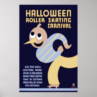 Halloween Roller Skating Carnival Print
