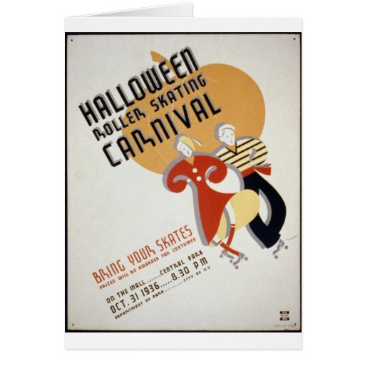 Halloween Roller Skating Festival Greeting Card