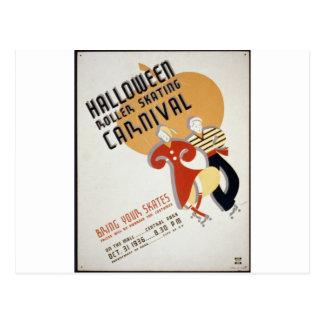 Halloween Roller Skating Festival Postcard