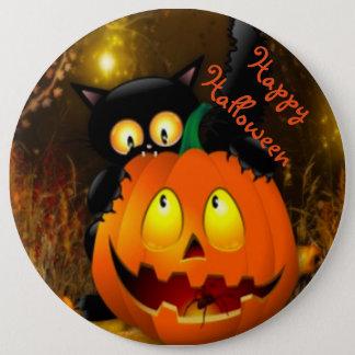 Halloween Round Button/Black Cat and Pumpkin Pinback Button