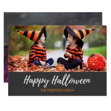 Halloween Themed Halloween Rustic Wood Candy Corn Photo Card