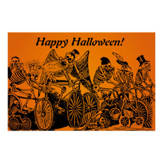 HALLOWEEN SALE! Skeleton Cyclists by J. Posada Poster