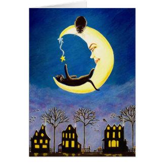 Halloween, saludo, tarjeta, negro, gato, bruja, lu tarjeta de felicitación