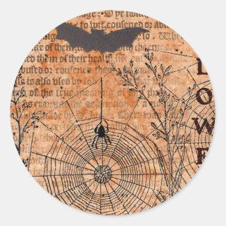 Halloween Samhain Spider Webs Classic Round Sticker