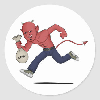 Halloween satan classic round sticker