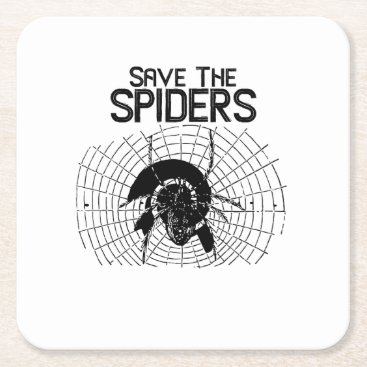Halloween Themed Halloween Save Spiders Web Costume Square Paper Coaster