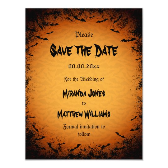 Halloween Save the Date invitation with bats | Zazzle.com