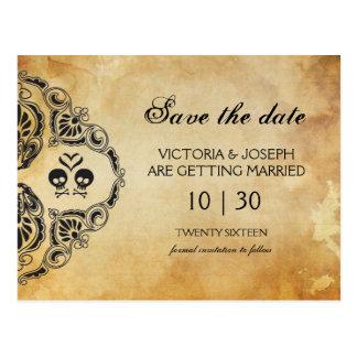 Halloween Save The Date - Skull & Crossbones Postcard