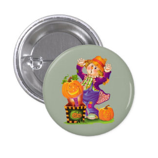 Halloween Scare Crow and Pumpkins Pinback Button